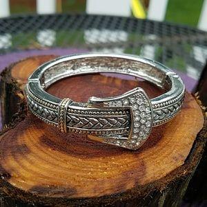 Jewelry - Belt Buckle Hinged Cuff Bangle Bracelet